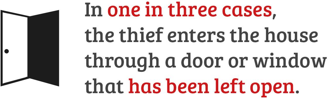 In un caso su tre il ladro entra in casa da una porta o finestra lasciate aperte